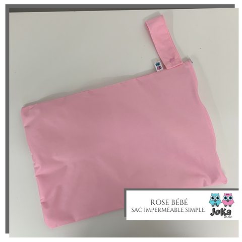 Sac imperméable simple Uni Rose bébé