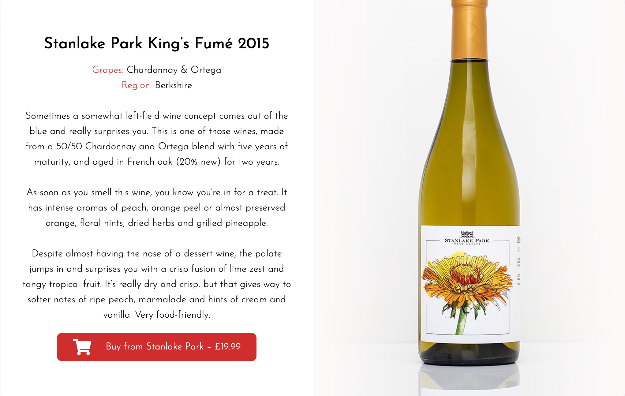 Great British Wine - King's Fumé - Stanlake Park Wine Estate