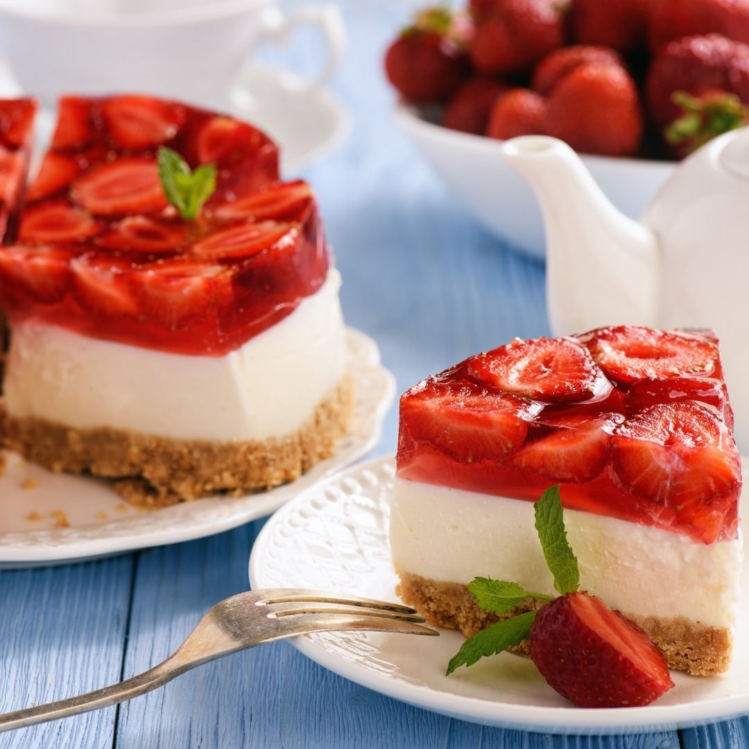 Strawberry cheesecake, a perfect pairing with rosé sparkling