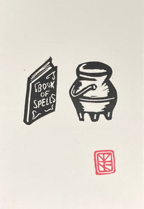 Book of Spells and Cauldron