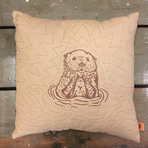 Beige Otter Throw Pillow Case