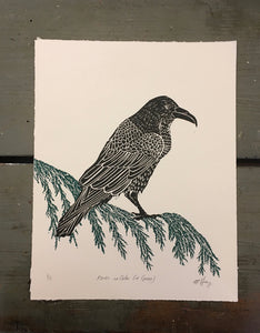 Raven on Cedar (in Green)