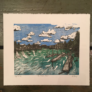Fraser River Lithograph and Linocut Print