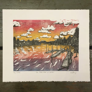 Fraser River at Sunrise - Linocut and Lithograph