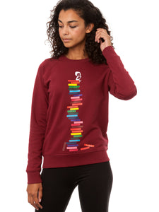 Books Girl Sweater burgundy