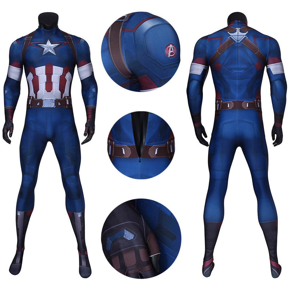 Captain America Spandex Suit Age of Ultron Steve Rogers HQ Printed Cosplay Costume