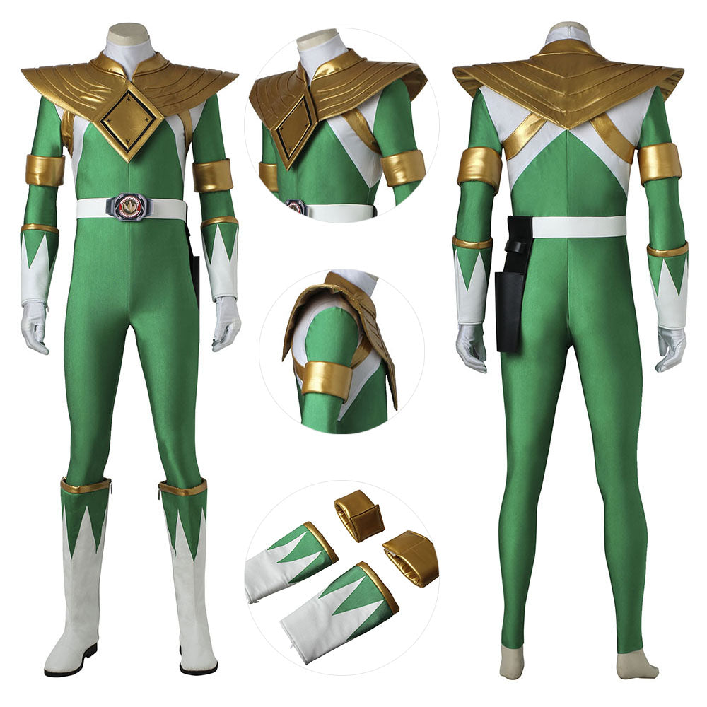 Green Ranger Cosplay Costume Mighty Morphin Power Rangers Green Suit For Cosplay