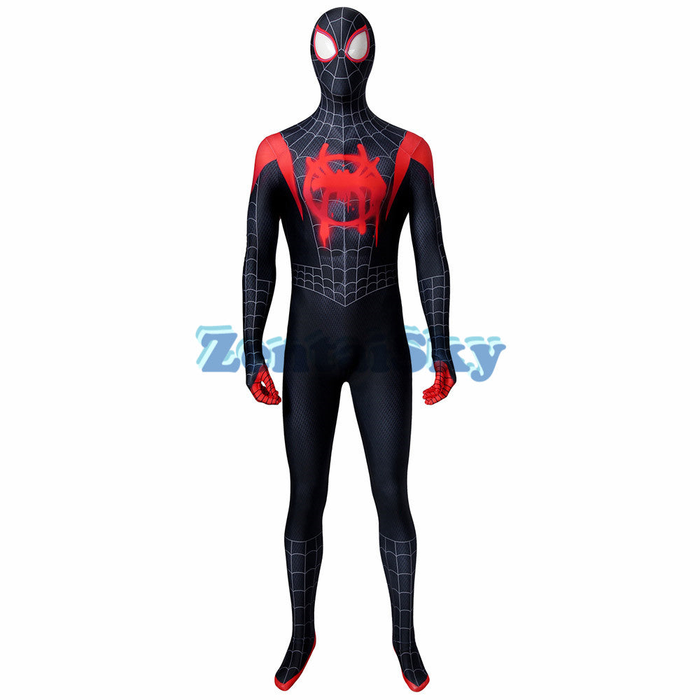Miles Morales Cosplay Suit Spider man Into the Spider-Verse Spandex Printed Jumpsuit