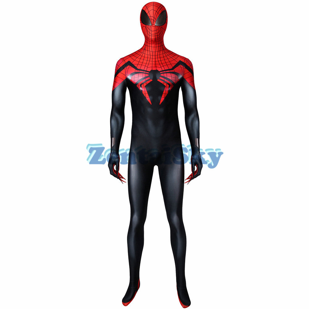 Superior Spider-Man Cosplay Suit Spandex Black and Red Spiderman Printed Jumpsuit