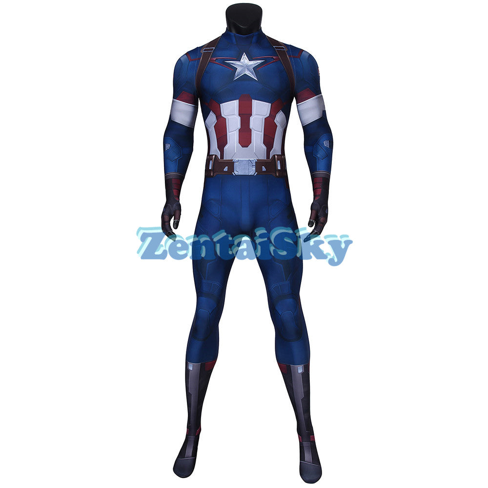Captain America Cosplay Suit Avengers 2 Spandex Steve Rogers Printed Zentai Costume