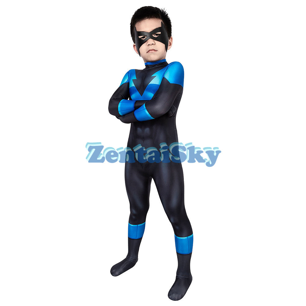 Nightwing Kids Cosplay Suit Printed Nightwing Costume For Halloween Children