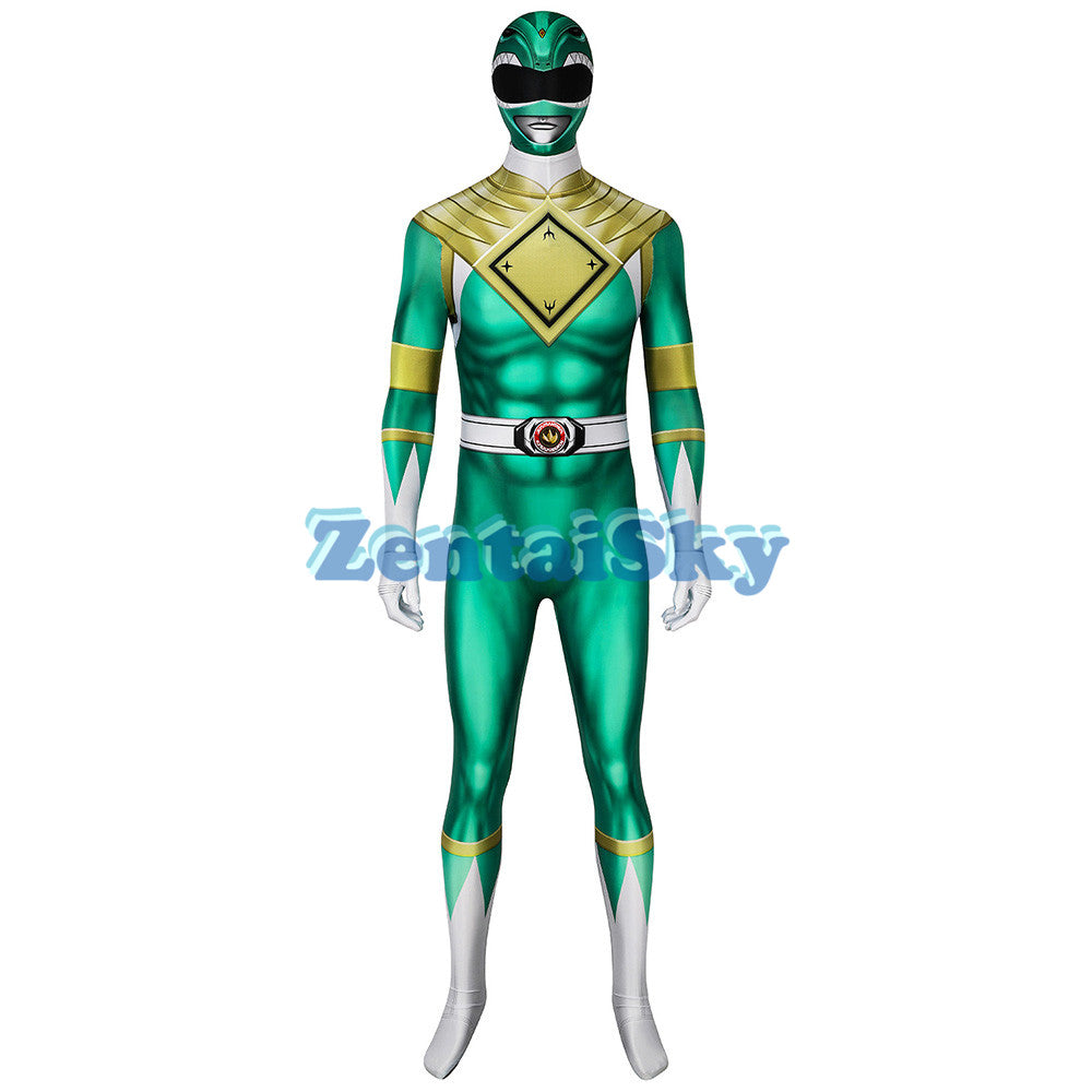 Power Rangers Green Suit Tommy Green Ranger Printed Zentai Costume