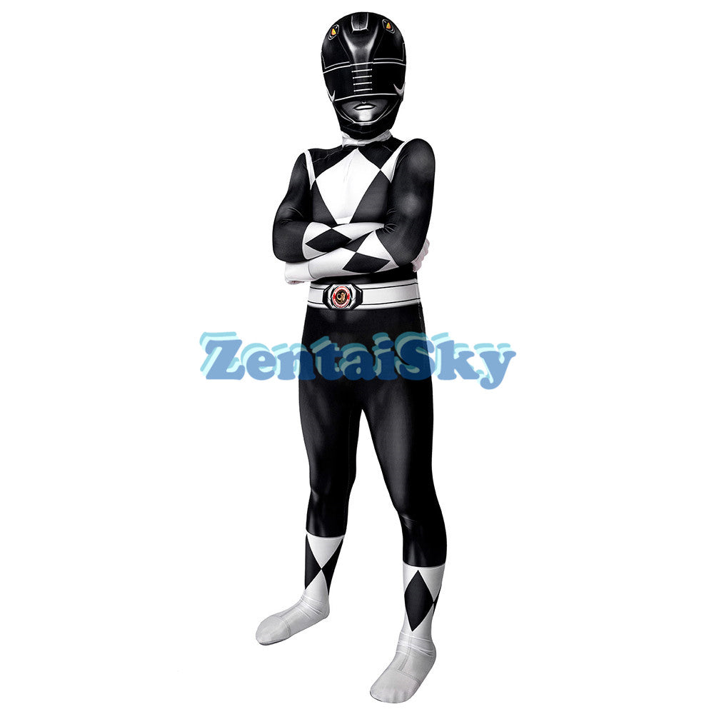 Power Rangers Kids Black Ranger Cosplay Suit For Children Halloween Cosplay