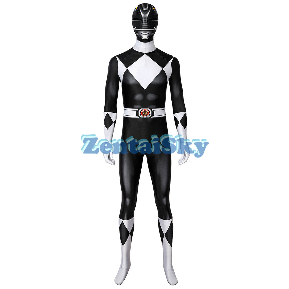 Power Rangers Black Suit Zack Black Ranger Printed Zentai Costume