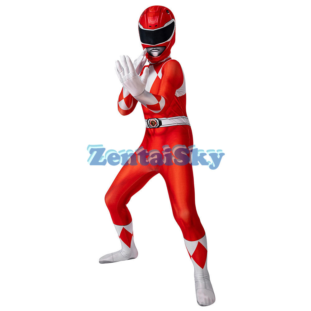 Power Rangers Kids Red Ranger Cosplay Suit For Children Halloween Cosplay