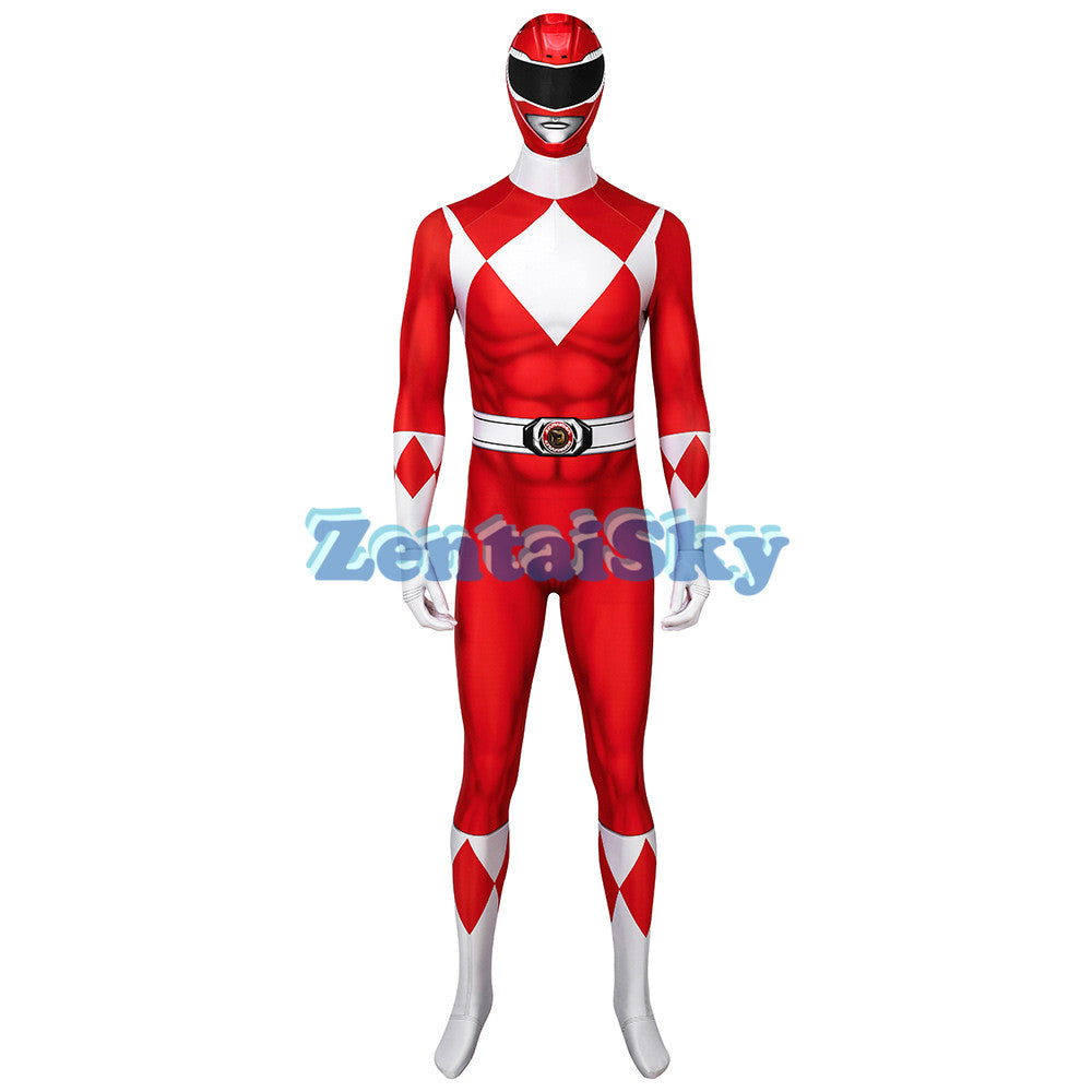 Power Rangers Red Suit Jason Red Ranger Printed Zentai Costume