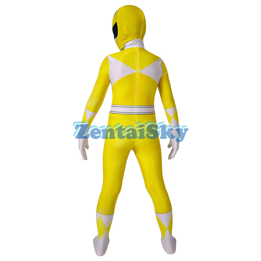 Power Rangers Kids Yellow Ranger Cosplay Suit For Children Halloween Cosplay