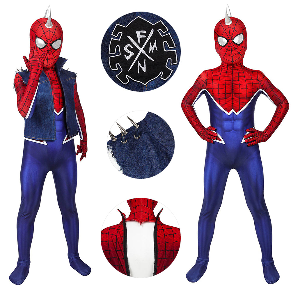 Kids Spider-Punk Suit Punk Spider-man Cosplay Costume Gifts For Boys