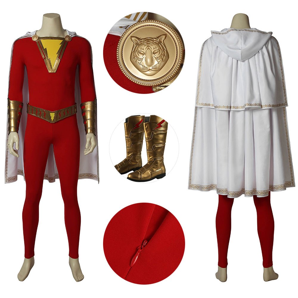Shazam Suit The Classic Shazam Red Cosplay Costume With Cloak