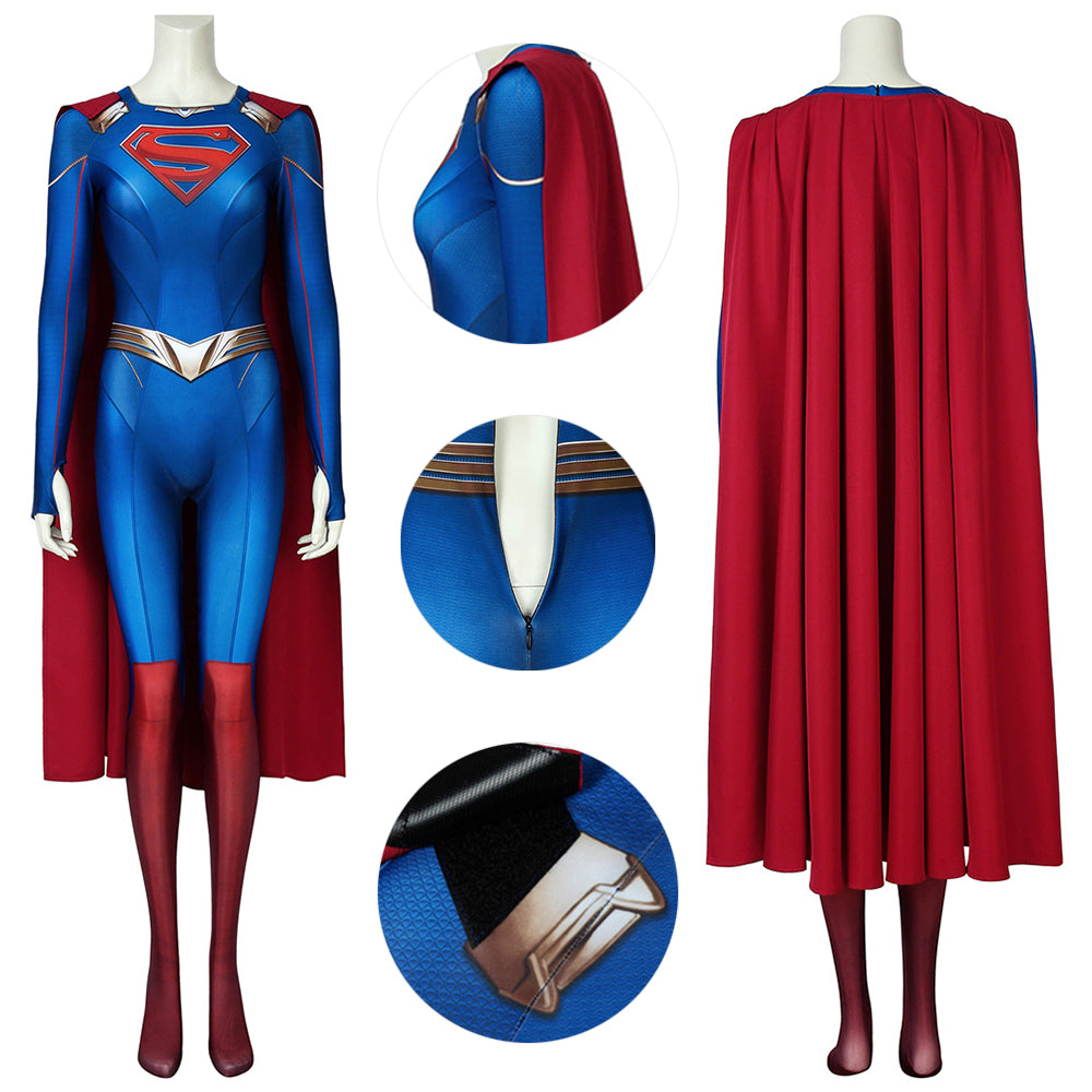 Supergirl Costumes Kara Zor-El Season 5 Cosplay Suit Spandex 3D Printed Edition