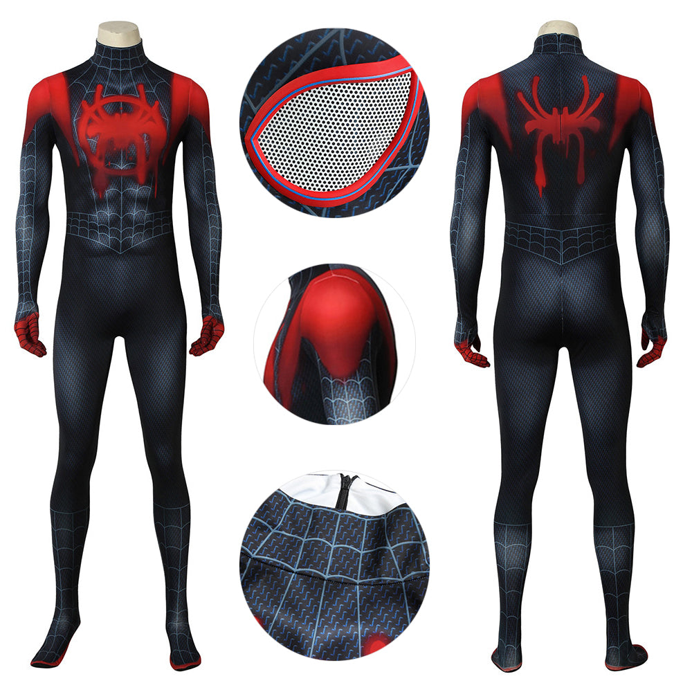 Ultimate Spider Suit Miles Morales Black Spider-man Cosplay Costume Spandex