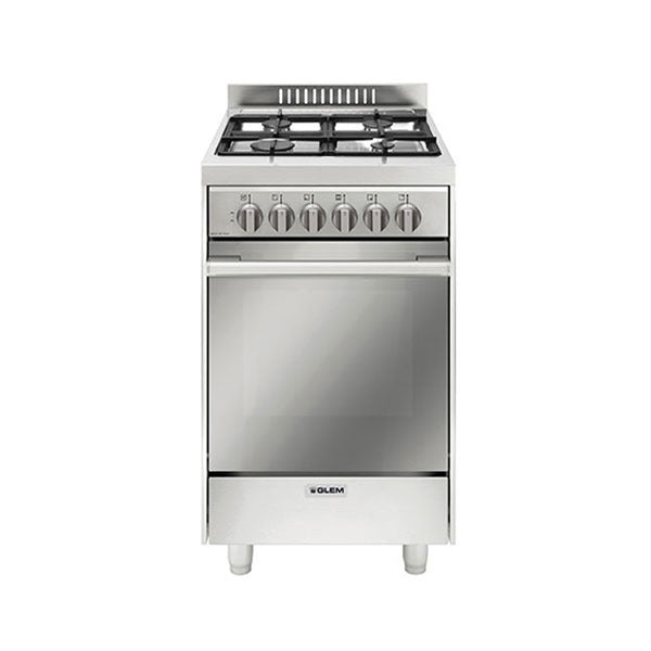 Glem GL53EI 53cm Stainless Steel Dual Fuel Stove