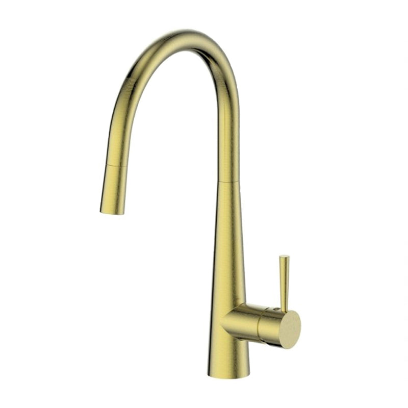 Greens Galiano 17520361 Gooseneck Pull Down Sink Mixer - Brushed Brass