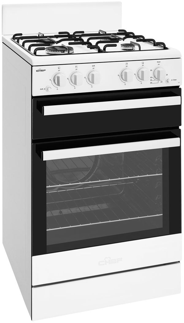 Chef CFG503WBNG 54cm White Freestanding Gas Stove - Chef Seconds Stock