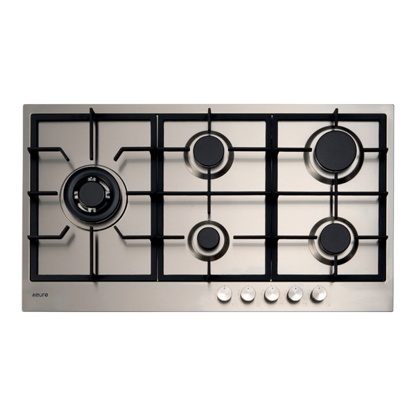 Euro Appliances E90CTWX 90cm 5 Burner Stainless Steel Gas Cooktop