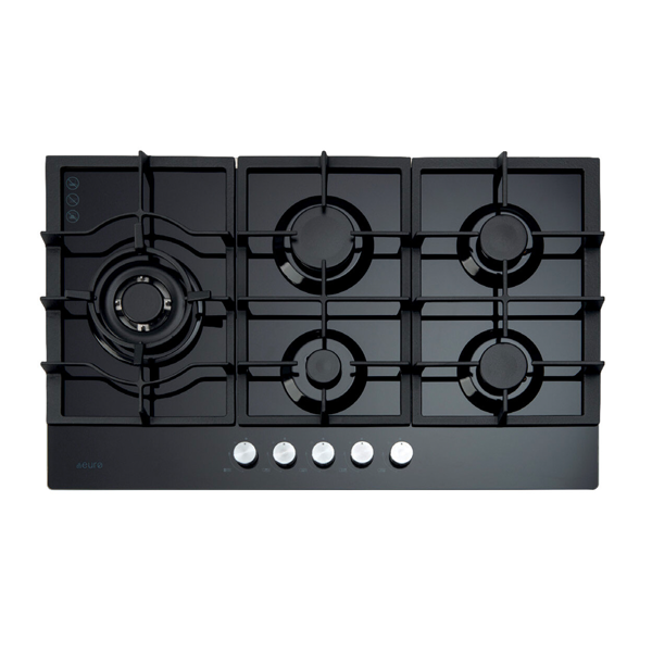Euro Appliances ECT900GBK 90cm 5 Burner Gas on Glass Cooktop