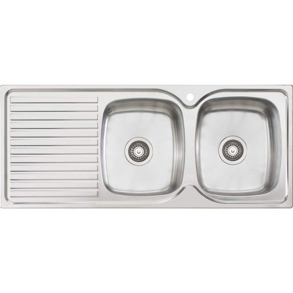Oliveri Endeavour EE72 Double Bowl Sink With Drainer
