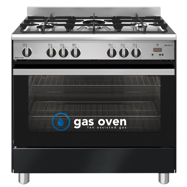 Emilia EM965GGN Black & Stainless Steel 90cm All Gas Stove with Air Fryer - Order in