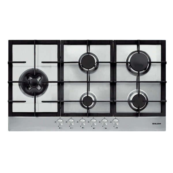 Glem FC95GWI 90cm Stainless Steel Gas Cooktop