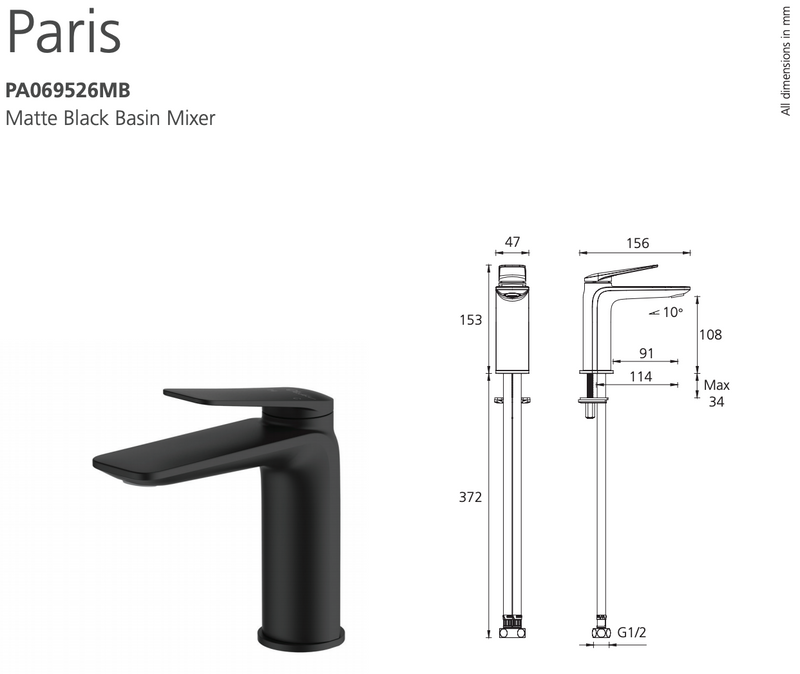 Oliveri Paris PA069526MB Matte Black Basin Mixer