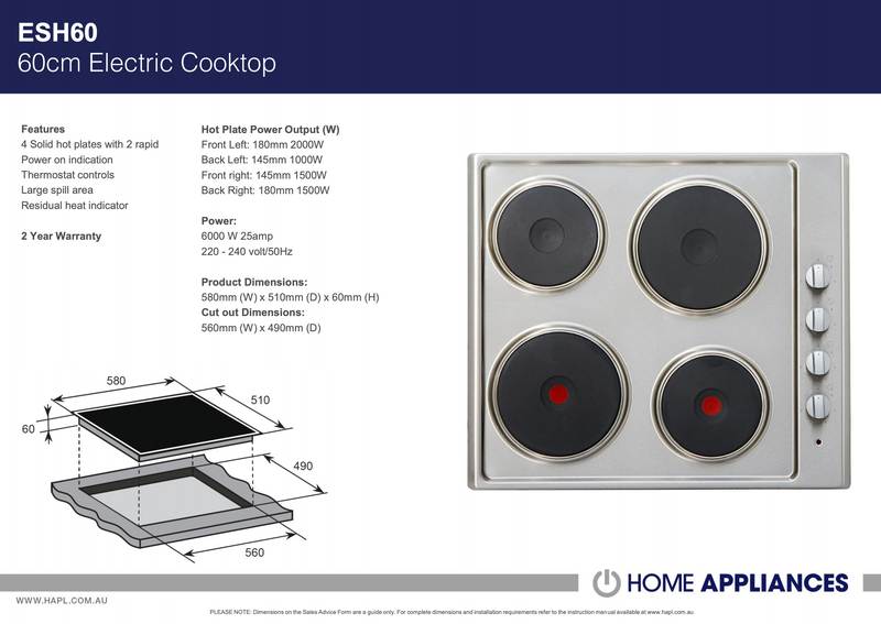 ARC ESH60 Stainless Steel Electric Cooktop – New