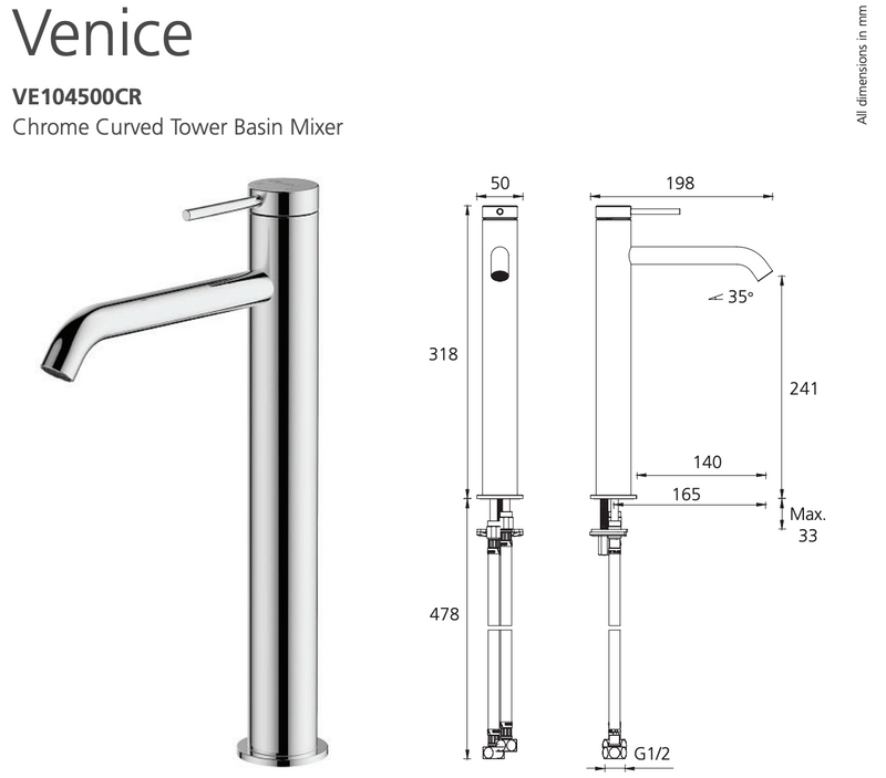 Oliveri Venice VE104500CR Curved Chrome Basin Tower Mixer