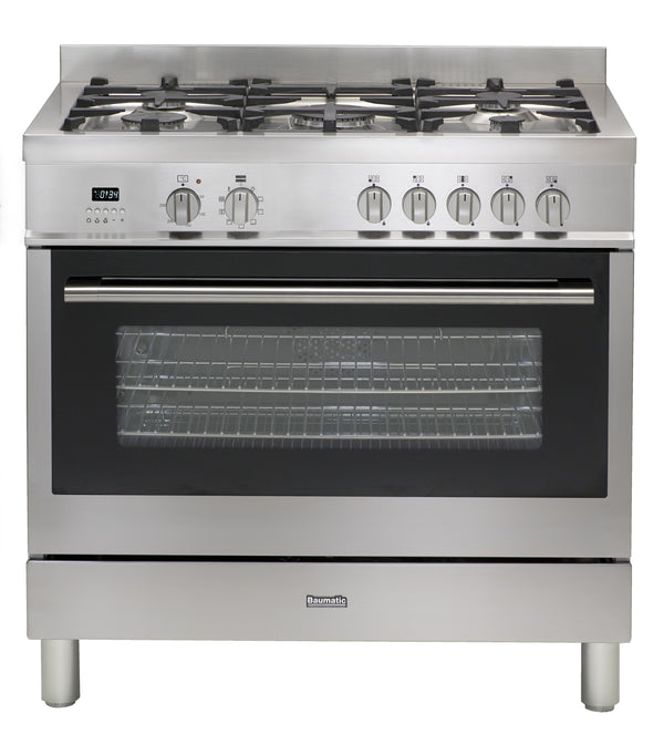 Baumatic Italian Made BAU95EG Stainless Steel 90cm Dual Fuel Freestanding Stove