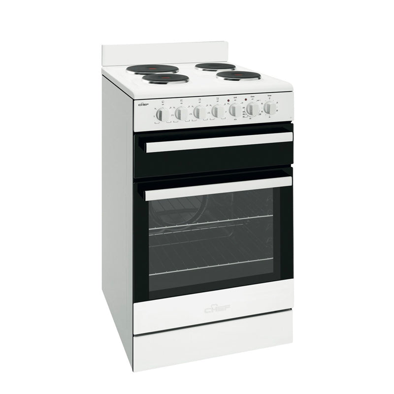 Chef CFE535WB 54cm Electric Non Fan Forced Stove