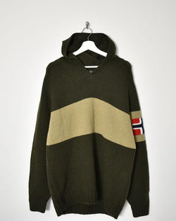 Napapijri Knitwear Hoodie - X-Large - Domno Vintage 90s, 80s, 00s Retro and Vintage Clothing