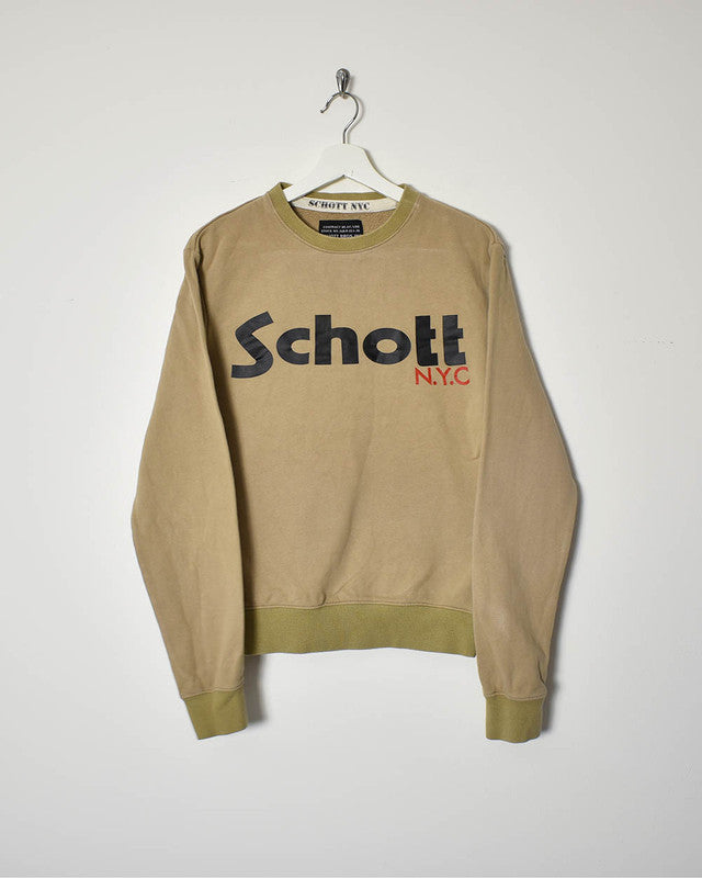 Schott Sweatshirt - Small - Domno Vintage 90s, 80s, 00s Retro and Vintage Clothing
