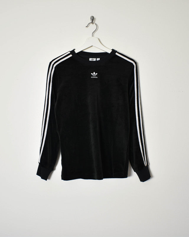Adidas Women's Velour Sweatshirt - Small - Domno Vintage 90s, 80s, 00s Retro and Vintage Clothing