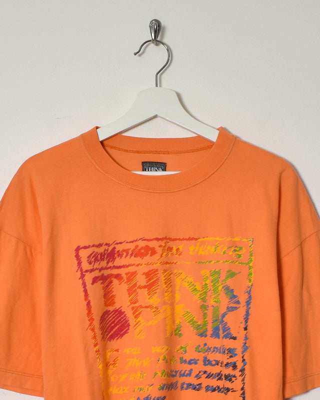 Think Pink T-Shirt - Small - Domno Vintage 90s, 80s, 00s Retro and Vintage Clothing