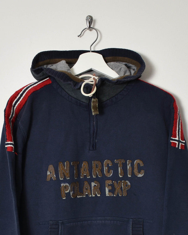 Napapijri 1/4 Zip Hoodie - Medium - Domno Vintage 90s, 80s, 00s Retro and Vintage Clothing