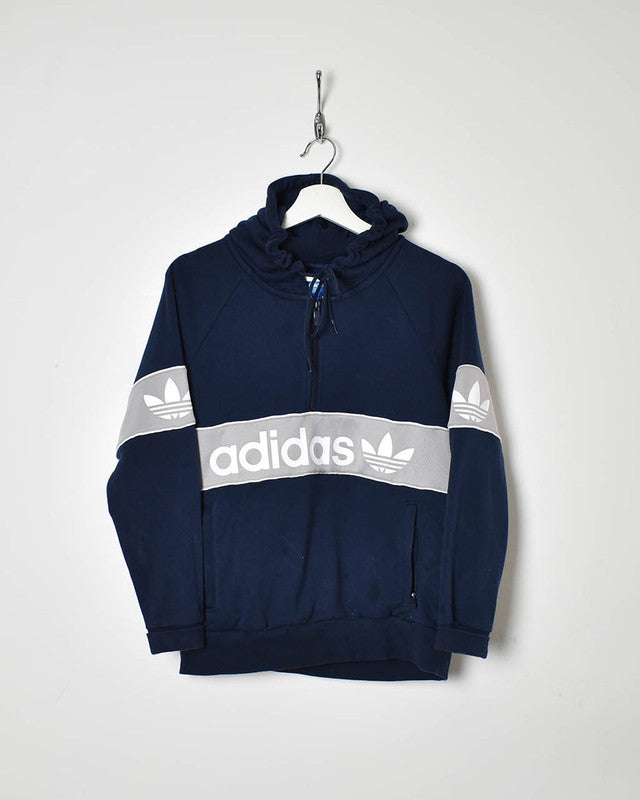 Adidas Women's 1/4 Zip Hoodie - Small - Domno Vintage 90s, 80s, 00s Retro and Vintage Clothing