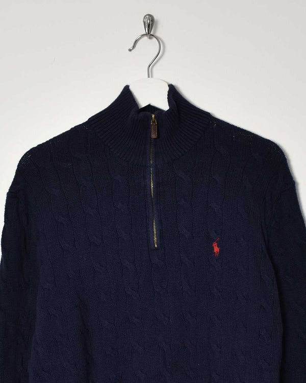 Ralph Lauren 1/4 Zip Knitwear Sweatshirt - Large