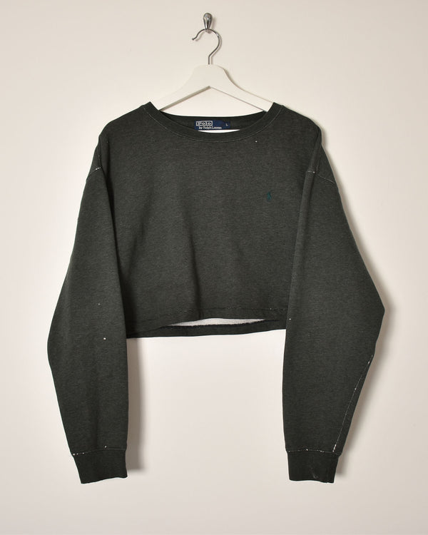 Ralph Lauren Crop Top Sweatshirt - Large - Domno Vintage 90s, 80s, 00s Retro and Vintage Clothing