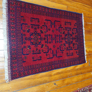 hand knotted wool rug 11177 size 111 x 77 cm Afghanistan