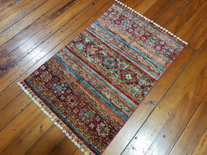 Hand knotted wool Rug 24 size  99 x 66 cm Afghanistan