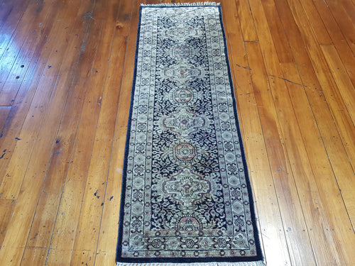 Hand knotted silk Rug 18262 size 182 x 62 cm,