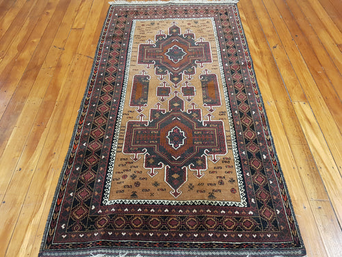 Hand knotted wool Rug 7929 size 209 x 109 cm Afghanistan